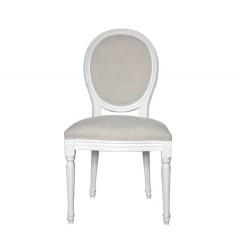 Καρέκλα Louis με εκρού καμβά σε λευκό χρ.