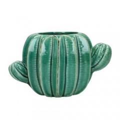 Διακοσμητικός κάκτος βάζο stoneware πετρόλ χρώμα 20x12cm