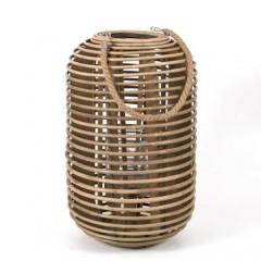 Φανάρι rattan σε σχήμα κυλίνδρου φυσικό χρώμα 30x48cm