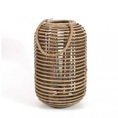 Φανάρι rattan σε σχήμα κυλίνδρου φυσικό χρώμα 23x38cm
