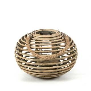 Φανάρι rattan σε σχήμα μπάλας φυσικό χρώμα 31x22cm