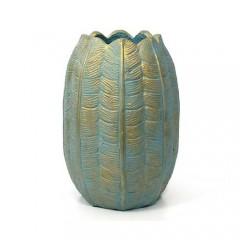 Οβάλ βάζο σχέδιο τουλίπα τυρκουάζ & χρυσή πατίνα 38cm