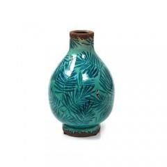 Κεραμικό βάζο μπλε πετρόλ με φύλλα areca 24cm
