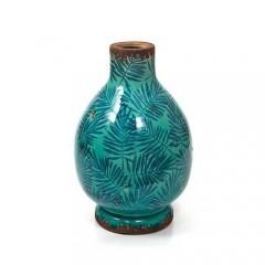 Κεραμικό βάζο μπλε πετρόλ με φύλλα areca 30cm