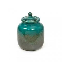 Μπισκοτιέρα κεραμική μπλε πετρόλ με φύλλα areca 12x17cm