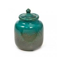 Μπισκοτιέρα κεραμική μπλε πετρόλ με φύλλα areca 15x21cm