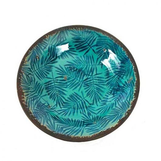Πιατέλα κεραμική μπλε πετρόλ με φύλλα areca 30cm