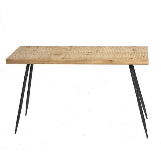 Κονσόλα μεταλ.πόδι & μασίφ ξύλινο καπάκι σχ.Spiral 120cm
