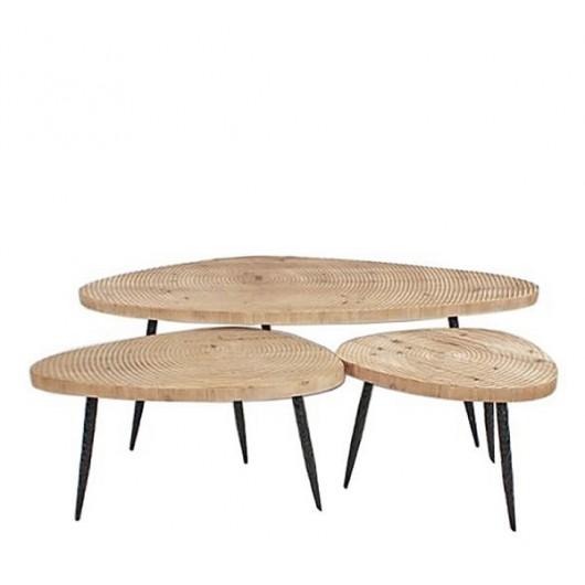 ΣΕΤ 3 Coffee table Βότσαλα μεταλ. πόδι & μασίφ ξύλινο καπάκι 50x70x120cm