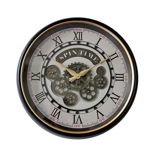 Ρολόι τοίχου μεταλλικό Spin Time με κινούμενο μηχανισμό 50cm
