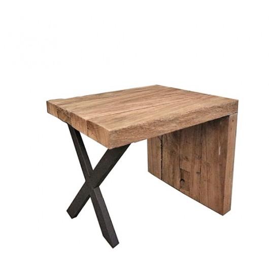 """Side table από ΤΕΑΚ σχέδιο """"Γ"""" με μεταλλικά πόδια.45x40cm"""