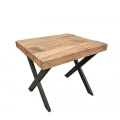 Side table από ΤΕΑΚ με μεταλλικά χιαστί πόδια.45x40cm