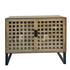 Μπουφές, 2 πορτάκια με τζάμι & σχ.ψάθα 100x40x80cm