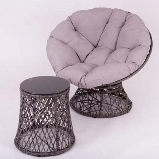 Πολυθρόνα relax περιστρεφόμενη με τραπεζάκι από wicker γκρι χρώμα