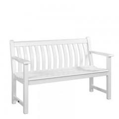 Broadfield white διθέσιος καναπές από ακακία σε λευκό χρώμα