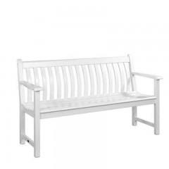 Broadfield white τριθέσιος καναπές από ακακία σε λευκό χρώμα