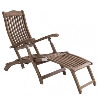 Steamer καρέκλα ξαπλώστρα με υποπόδιο από ξύλο sherwood