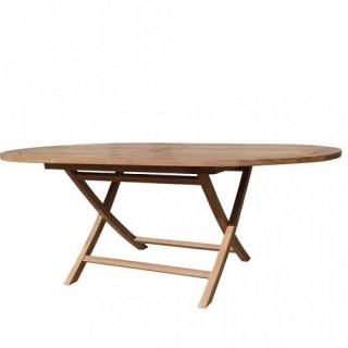 Τραπέζι 140x80cm οβάλ πτυσσόμενο από ξύλο teak