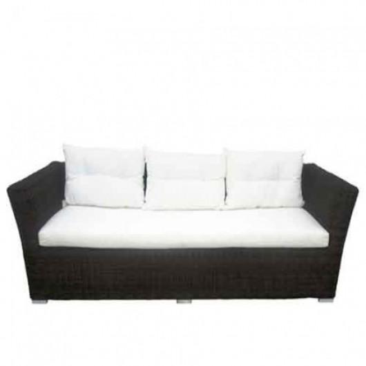 Carla τριθέσιος καναπές wicker με μαξιλάρια