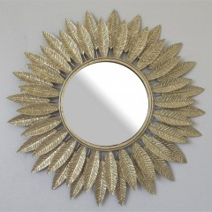 Καθρέπτης μεταλλικός χρυσός με φύλλα Φ60εκ