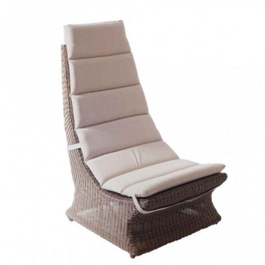 Lazy chair πολυθρόνα από wicker με ψηλή πλάτη και μαξιλάρι
