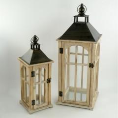 Φανάρια σετ 2 τεμάχια ξύλινα με λεπτομέρειες μεταλλικές