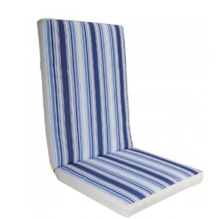 Μαξιλάρι πολυθρόνας με χαμηλή πλάτη ριγε εκρού μπλε