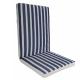 Μαξιλάρι πολυθρόνας με χαμηλή πλάτη ριγε λευκό μπλε
