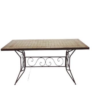 Τραπέζι 180x90εκ μωσαϊκό μπεζ καφέ με σιδερένια βάση καφέ αντικέ