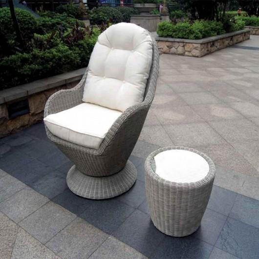 Seashell καθιστικό κήπου 2 τεμάχια από wicker και αλουμίνιο
