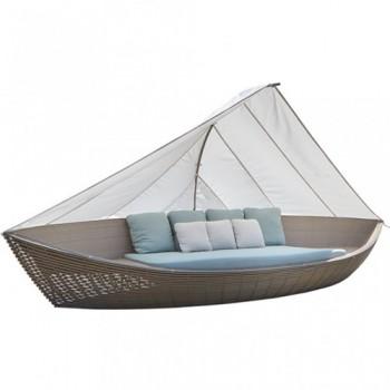 Boat DayBed κάθισμα κήπου wicker με μαξιλάρια και τέντα