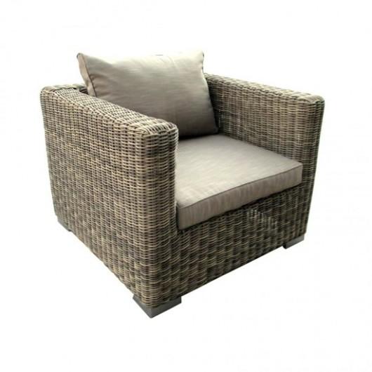 Damina Πολυθρόνα wicker με σκελετό αλουμινίου και μαξιλάρι