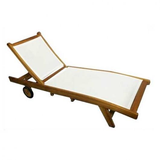 Ξαπλώστρα Kilda D από ξύλο Teak με διάτρητο ύφασμα