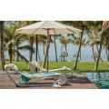 Miami lounge ξαπλώστρα πισίνας wicker λευκό