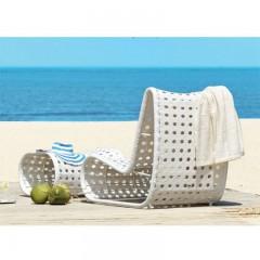 Miami lounge set ξαπλώστρα και υποπόδιο σε λευκό wicker
