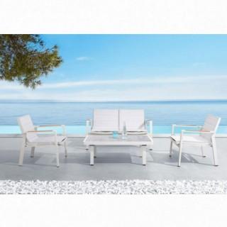 Nofi set σαλόνι με διθέσιο καναπέ λευκό αλουμίνιο και teak