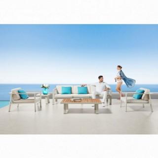 Nofi set σαλόνι με τριθέσιο καναπέ λευκό αλουμίνιο και teak
