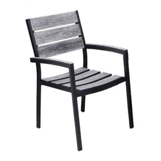 Salem πολυθρόνα αλουμινίου μαύρη γκρι στοιβαζόμενη