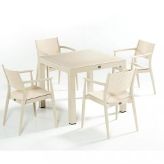 Seginus τραπέζι set με τέσσερις πολυθρόνες ivory