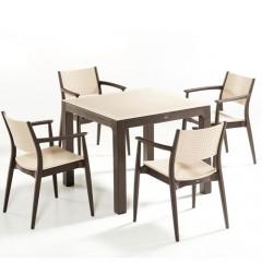 Seginus τραπέζι set με τέσσερις πολυθρόνες brown cappuccino