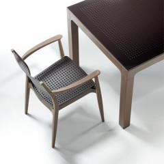 Seginus τραπέζι set με τέσσερις πολυθρόνες brown brown