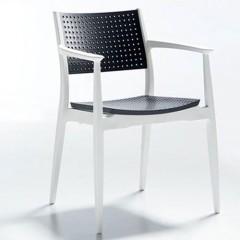 Seginus πολυθρόνα πολυπροπυλενίου στοιβαζόμενη λευκή ανθρακί