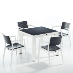 Seginus τραπέζι set με τέσσερις πολυθρόνες ανθρακί λευκό