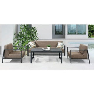 Stuffy set σαλόνι κήπου με διθέσιο καναπέ από αλουμίνιο μαύρο