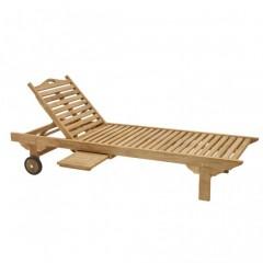Ξαπλώστρα πισίνας ξύλινη teak με συρταρωτό τραπεζάκι