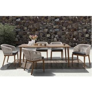 Triumph dining τραπεζαρία με σκελετό από αλουμίνιο και wicker πλέξη σε γήινους τόνους