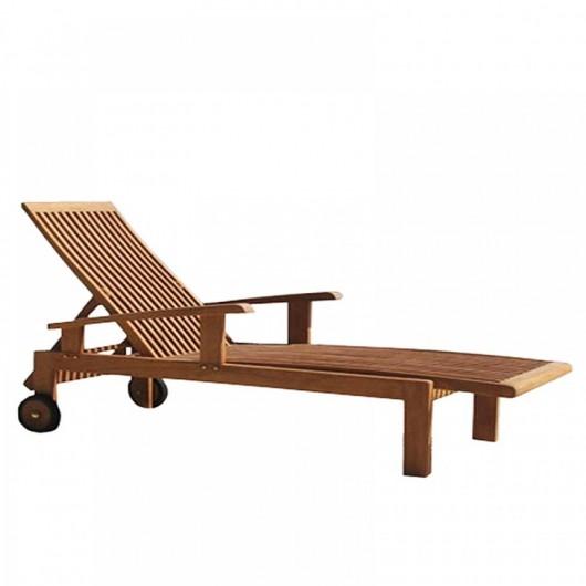 Ξαπλώστρα πισίνας ξύλινη teak με μπράτσα