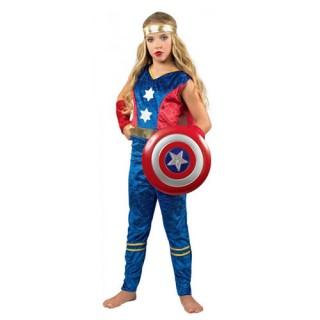 Κάπταιν Σαμ αποκριάτικη στολή Σούπερ ήρωα για κορίτσια
