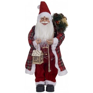 Αγιος Βασίλης 60cm κόκκινος καρό