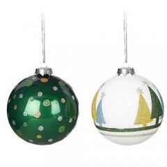 Γυάλινη πράσινη μπάλα 10cm σε δύο σχέδια